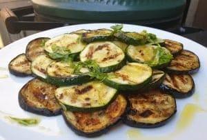gegrilde courgette en aubergine op de Big green Egg BBQ recept KAmado grillen groenten gegrilde groenten