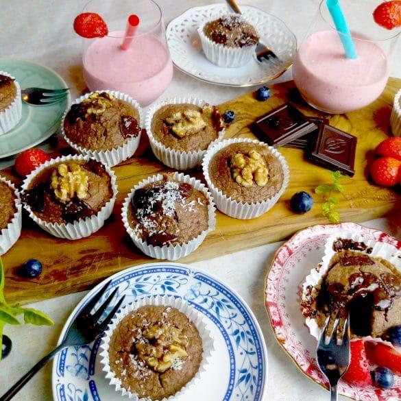 gezonde ontbijt muffins met chocolade ei havermout banaan