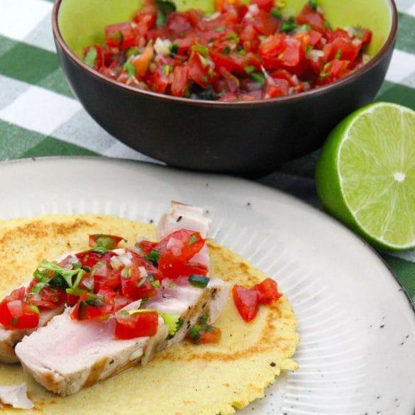 Tonijn taco's met pica de gallo Mexicaans recept tortilla mais tortilla taco tomaten salsa