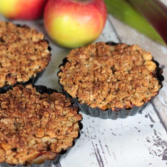 glutenvrije crumble met appel en rabarber