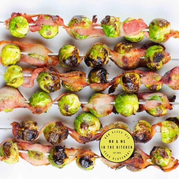 spruitjes van de BBQ spies spiesjes bacon spek bijgerecht groente Big Green Egg kamado barbecue