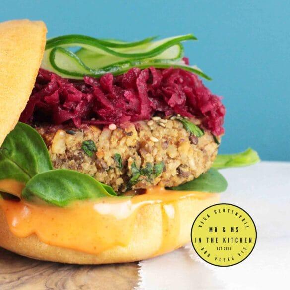 Vegetarische burger met linzen vega hamburger BBQ recept lekkerste burger beste